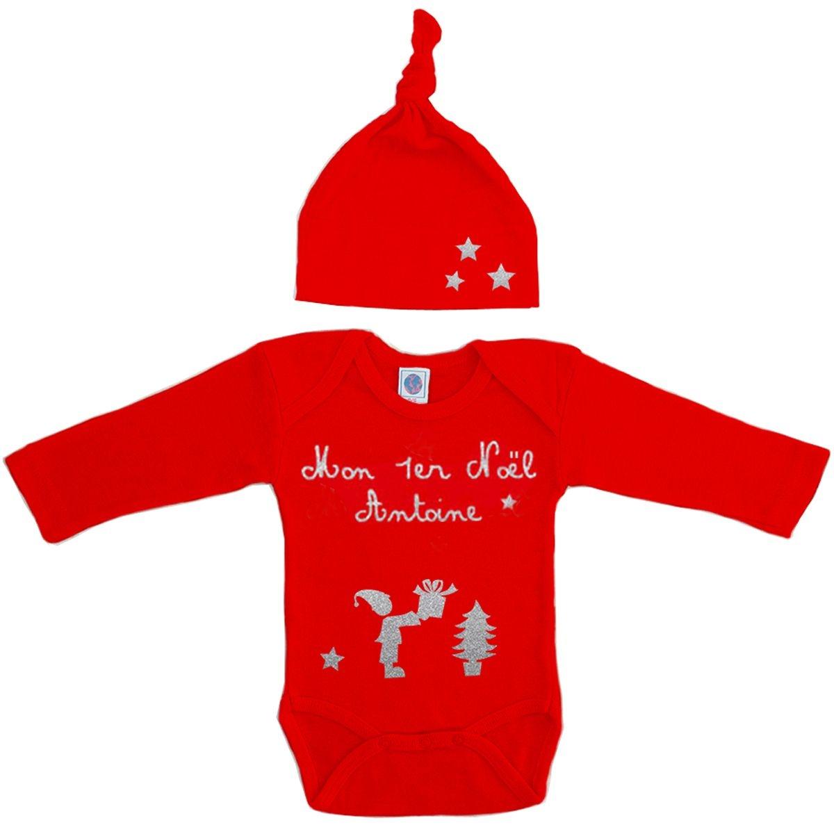 Kit body et bonnet bébé Noël prénom coton  manches longues rouge