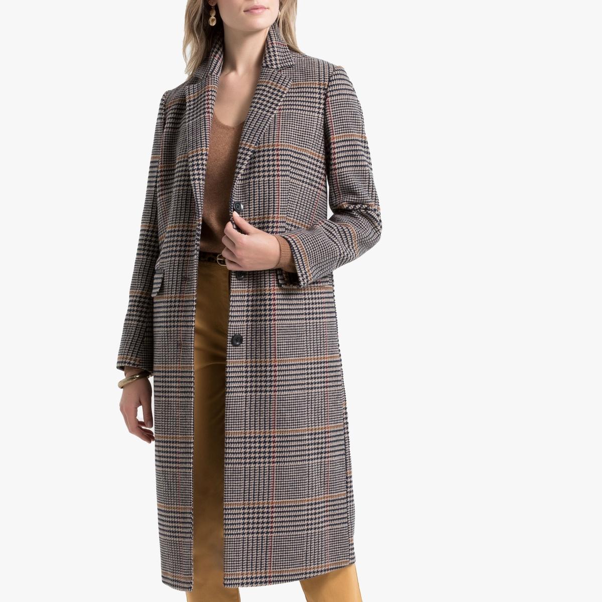 Пальто La Redoute Длинное в клетку с застежкой на пуговицы 54 (FR) - 60 (RUS) каштановый цена и фото