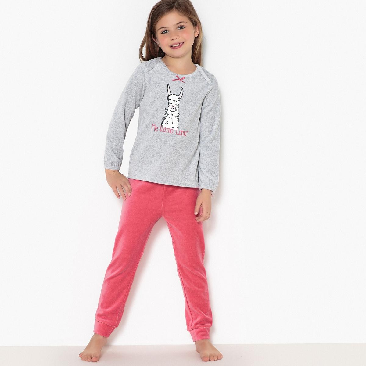 Пижама из 2 предметов с рисунком лама  велюра, 3-12 лет