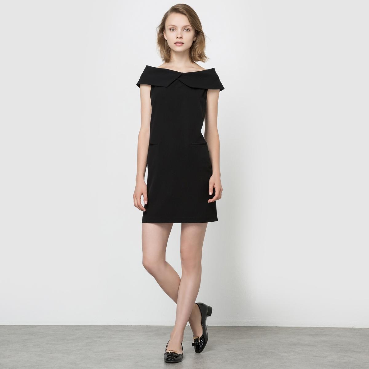 Платье с открытыми плечами и карманамиСостав и описаниеМарка: SEE U SOON.Материал: 65% полиэстера, 30% вискозы, 5% эластана. Подкладка из 100% хлопка.<br><br>Цвет: черный