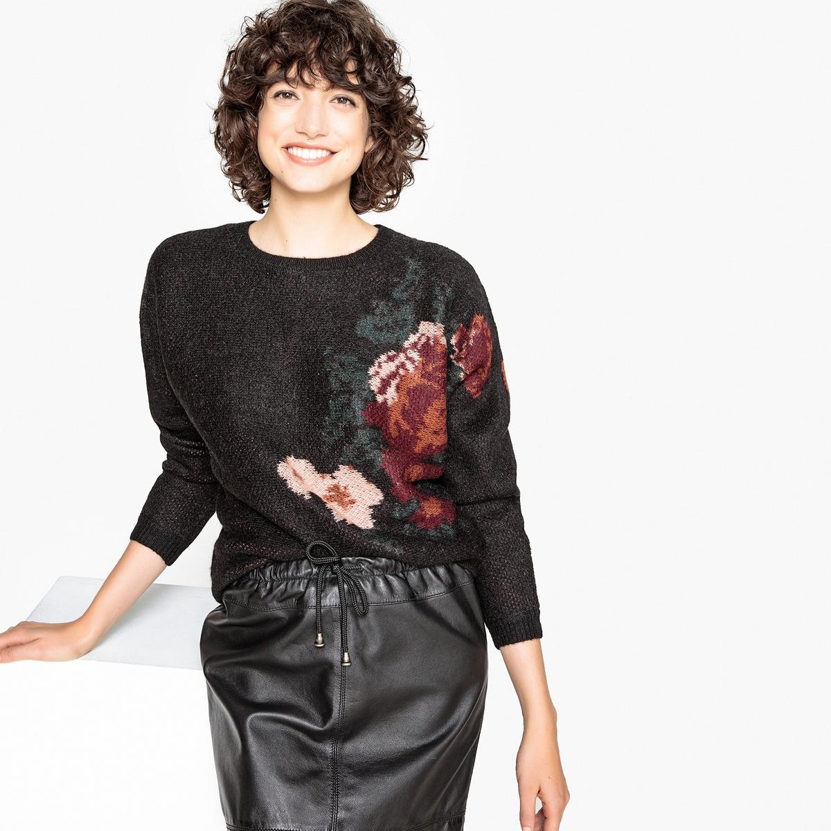 Пуловер с жаккардовым цветочным рисунком кардиган с жаккардовым рисунком от 3 до 12 лет