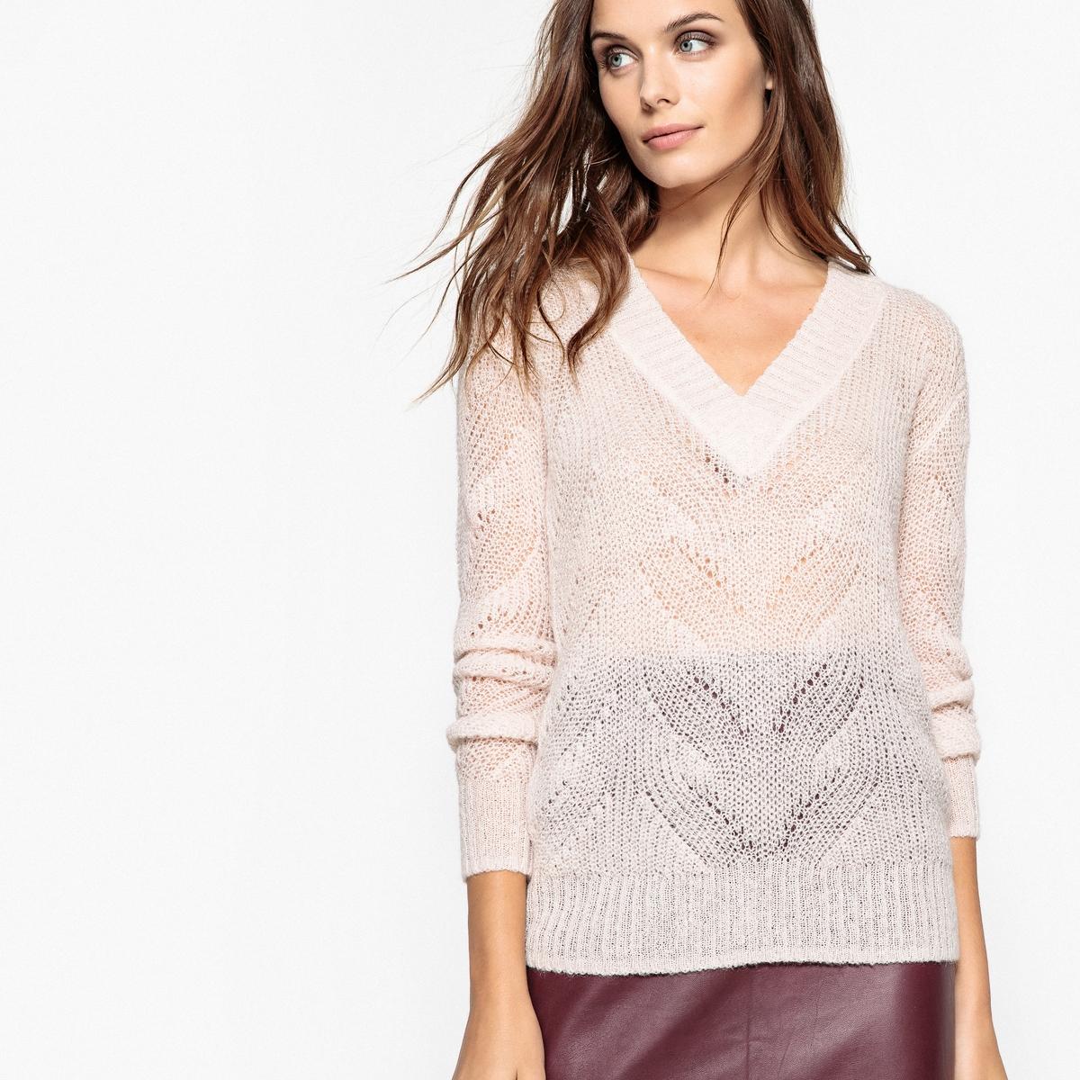 Пуловер с V-образным вырезом пуловер из плотного трикотажа с v образным вырезом
