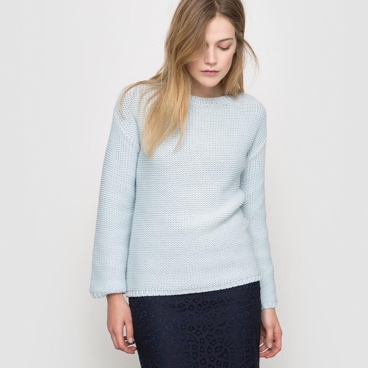 Пуловер широкого покрояПуловерЗакругленный вырезДлинные рукаваКрая связаны в рубчик Длина 63 см<br><br>Цвет: голубой,экрю<br>Размер: 38/40 (FR) - 44/46 (RUS).46/48 (FR) - 52/54 (RUS)