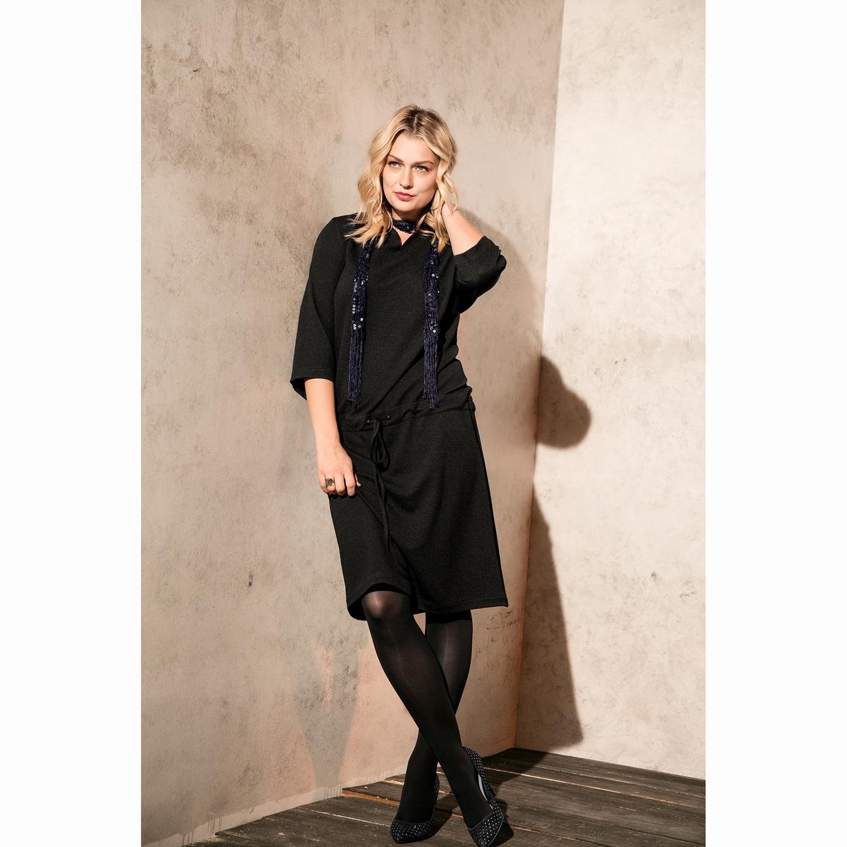ПлатьеПлатье ULLA POPKEN. 95% полиэстера, 5% эластана.<br><br>Цвет: черный<br>Размер: 52 (FR) - 58 (RUS).46 (FR) - 52 (RUS)