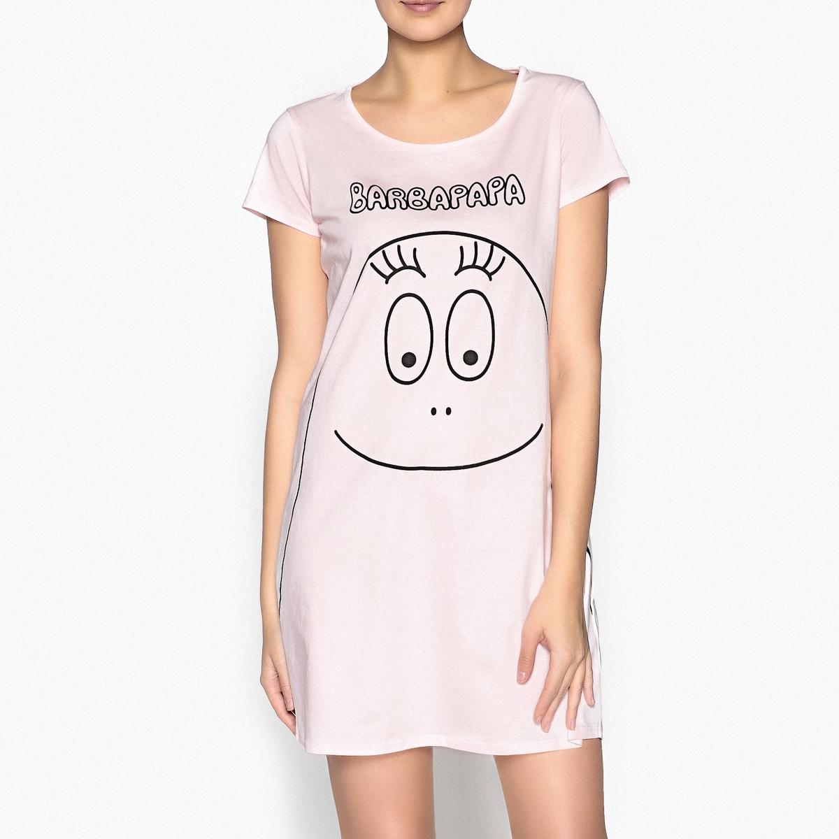 Рубашка ночная из хлопка с рисункомИзысканная ночная рубашка Barbapapa, которая позволяет насладиться моментами отдыха  и поднимает настроение .Состав и описание :Закругленный вырез, короткие рукава, рисунок на груди. Материал: 100 % хлопок.  Джерси 160 г. Длина: 91 см (размер M)Покрой: прямойМарка: BarbapapaУход: стирать при 40° с вещами схожих цветов. Стирать и гладить с изнаночной стороны.Машинная сушка запрещена.<br><br>Цвет: розовый<br>Размер: M