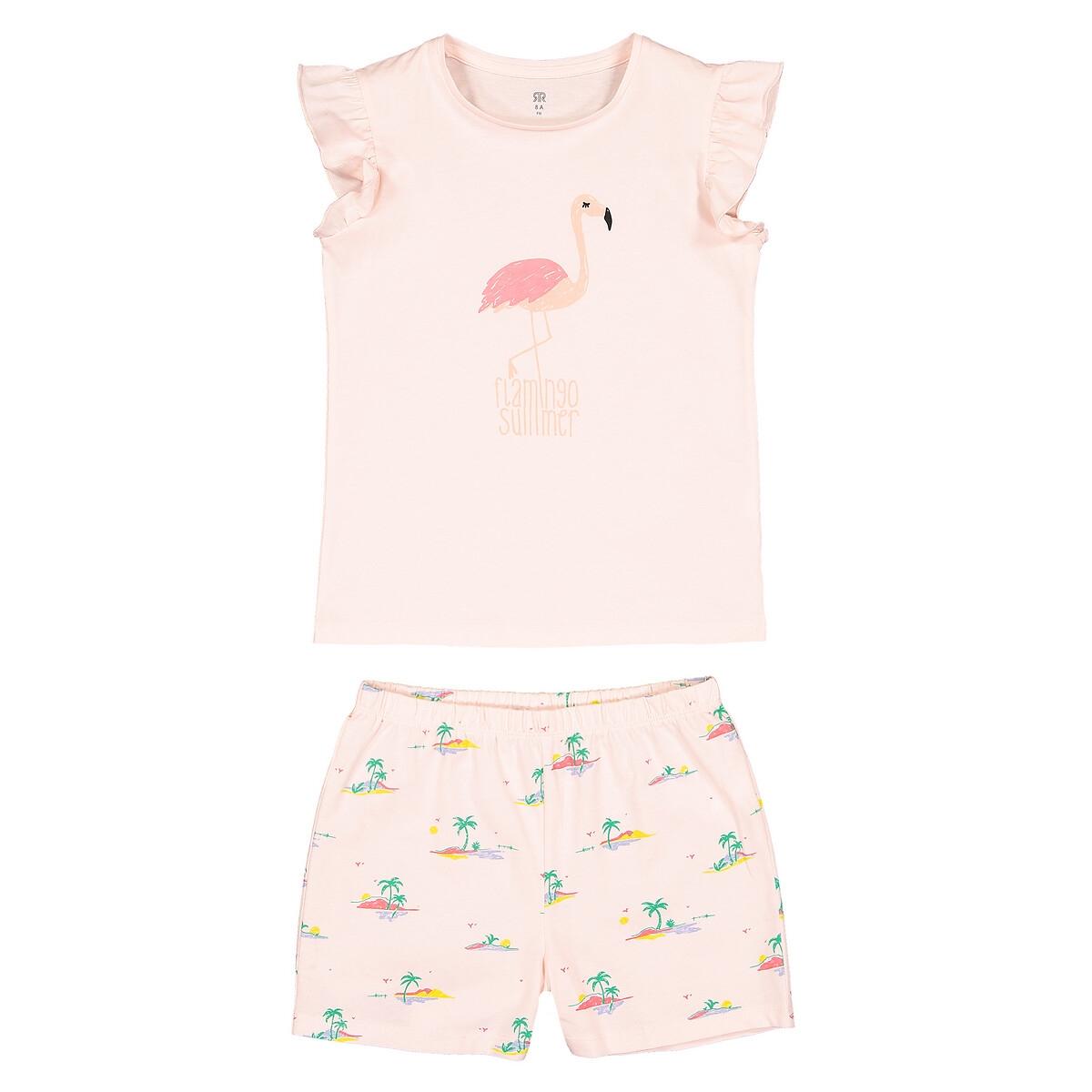 Пижама LaRedoute С шортами с рисунком розовый фламинго из биохлопка 3-12 лет 8 - 126 см