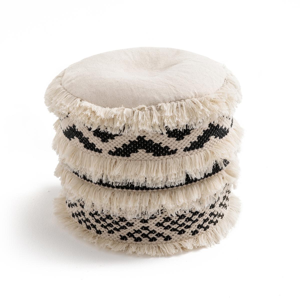 Пуф в этническом стиле, TRIKI пуф wooden круглый белый