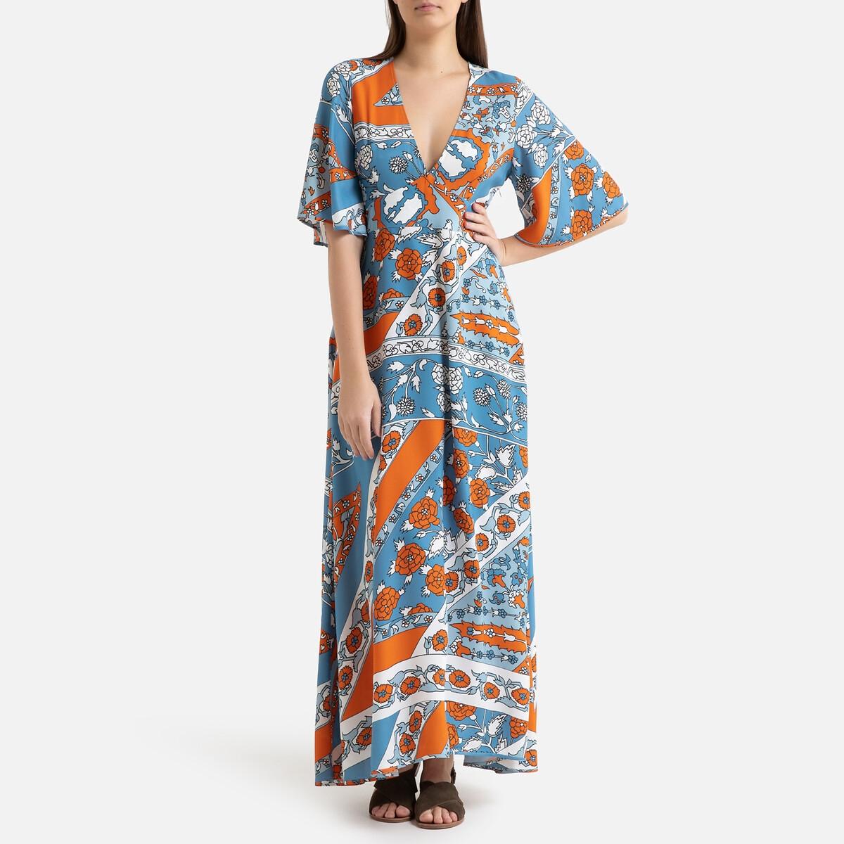 Платье La Redoute Длинное летнее с короткими рукавами LEANDRA 38 (FR) - 44 (RUS) синий