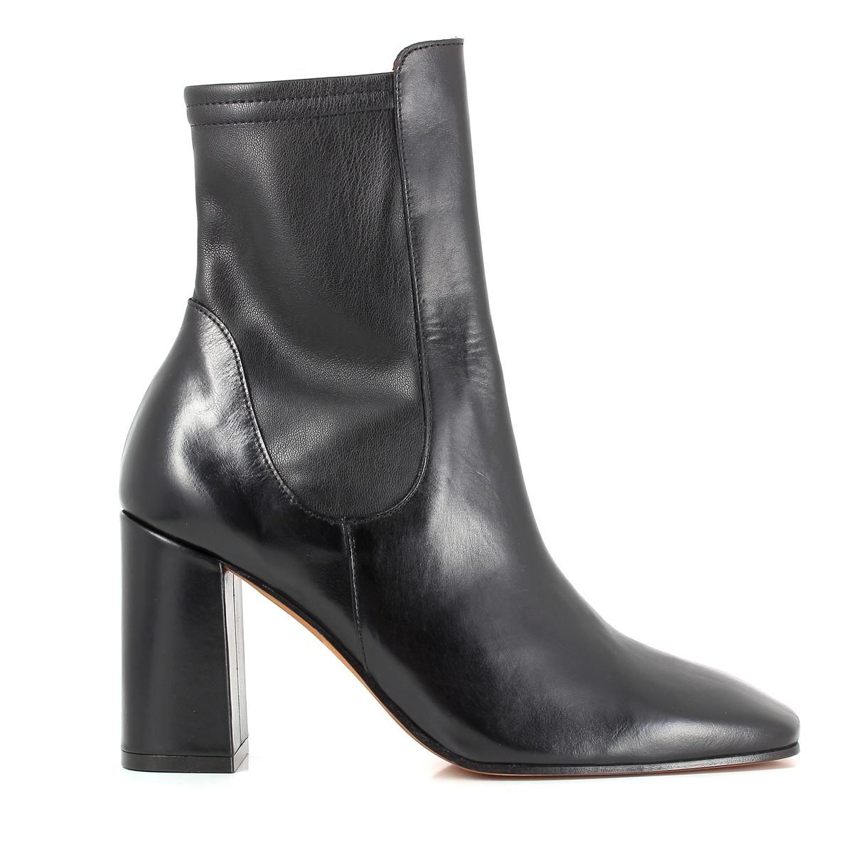 Ботильоны на каблуке PIDGIВерх/ Союзка : Кожа быка и синтетика    Подкладка : Кожа    Стелька : Кожа    Подошва : Кожа     Высота каблука : 8,7 cm   Форма каблука : Широкий  Носок : Квадратный мысок          Застежка : На молнии<br><br>Цвет: черный<br>Размер: 41