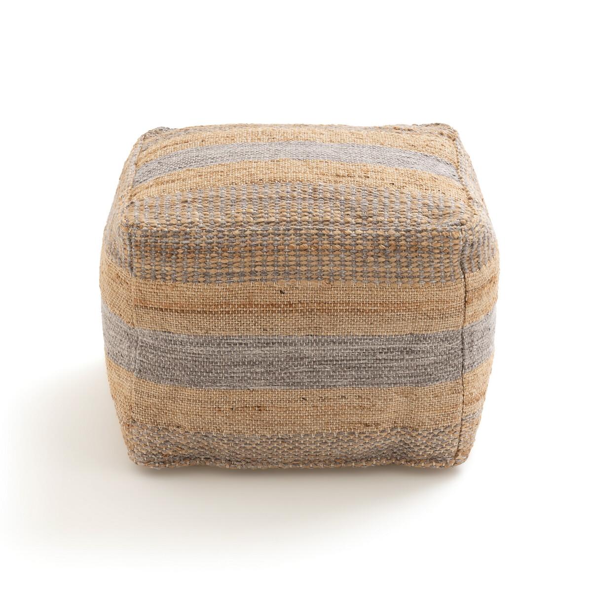 Фото - Пуф LaRedoute Из джута и шерсти Touba единый размер бежевый ковер laredoute из джута и хлопка пастельных тонов bazyli 120 x 180 см разноцветный