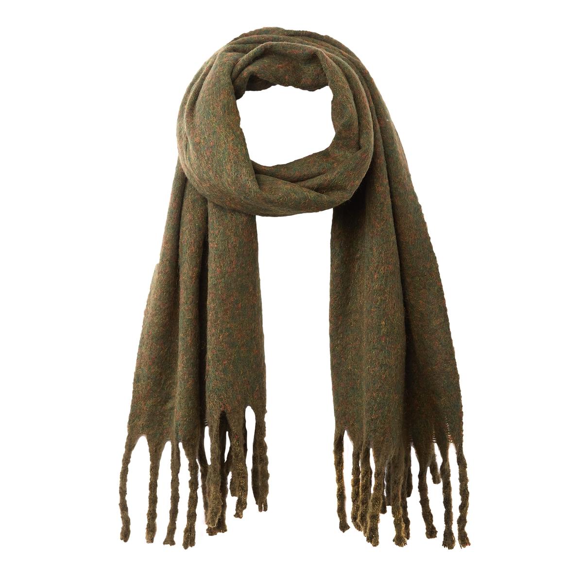 Шарф La Redoute С бахромой UNI зеленый павловопосадская шерстяная шаль с шелковой бахромой волшебный узор 148х148 см