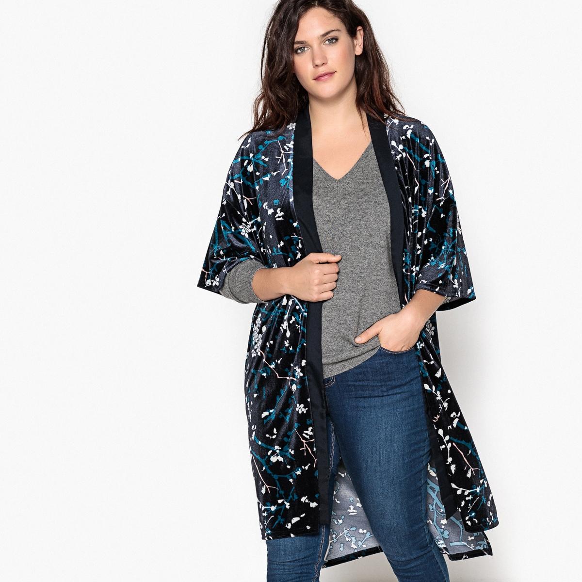 Жакет-кимоно из велюрового трикотажаОписание:Этой зимой велюр в моде . Этот жакет-кимоно из велюра выглядит невероятно стильно. Кимоно из велюра с принтом адаптируется под любые стили .Детали •  Свободный стиль •  Покрой бойфренд, свободный •  Длина : удлиненная модель •  Шалевый воротник •  Рисунок-принтСостав и уход •  8% эластана, 92% полиэстера •  Подкладка : 100% полиэстер •  Следуйте рекомендациям по уходу, указанным на этикетке изделияТовар из коллекции больших размеров<br><br>Цвет: рисунок японский