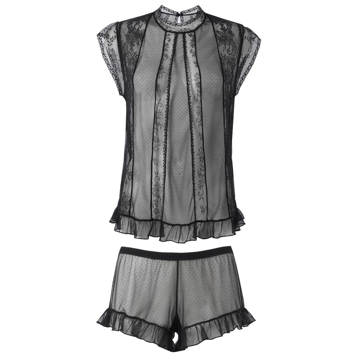 Пижама с шортами из тюля, расшитого гладью, и кружева пижама с шортами quelle le jogger 193555