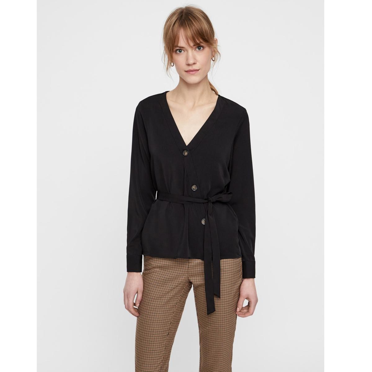 Блузка La Redoute С V-образным вырезом и длинными рукавами XL черный футболка la redoute с длинными рукавами и v образным вырезом из кружева s черный