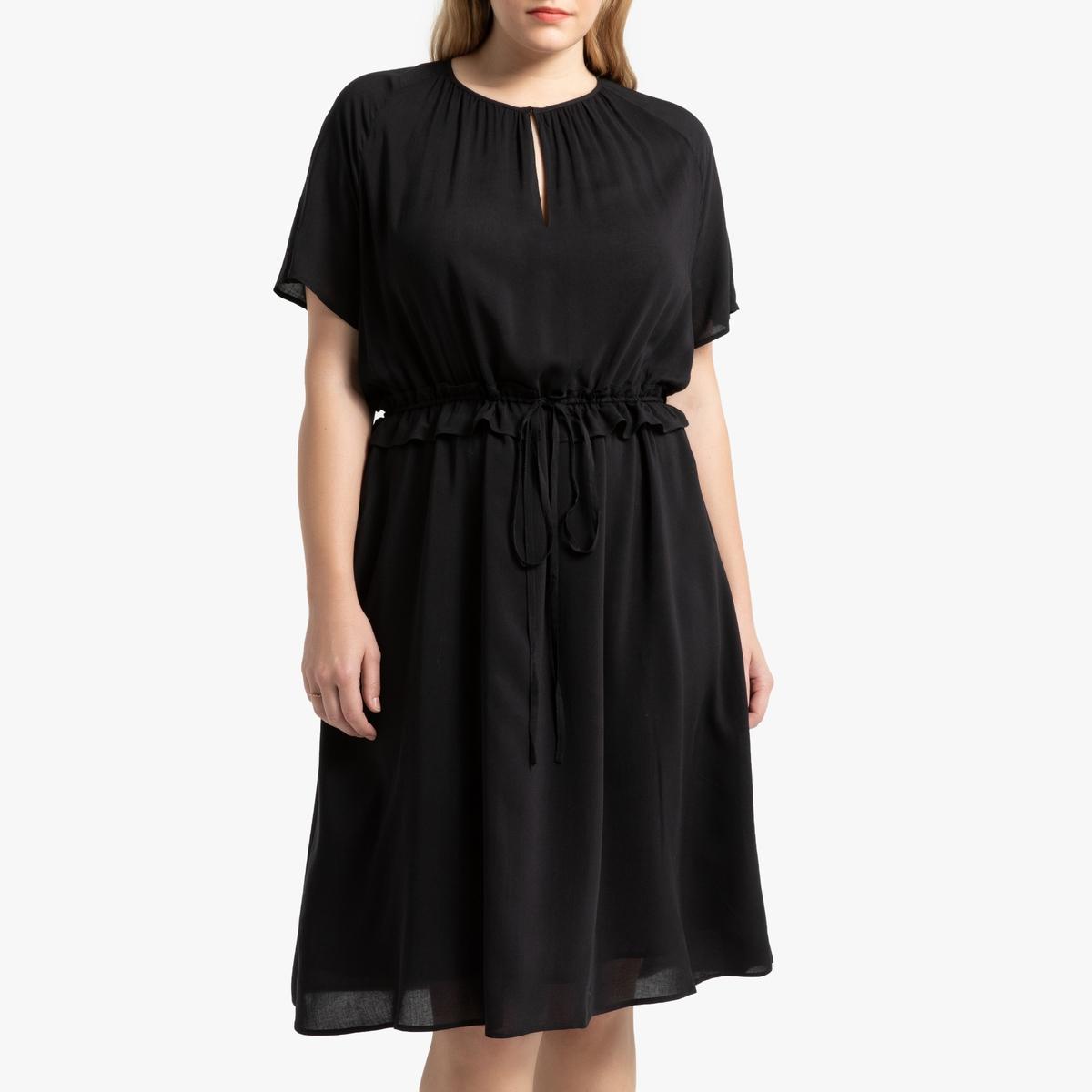 Платье La Redoute С завязками на кулиске на поясе и короткими рукавами 50 (FR) - 56 (RUS) черный