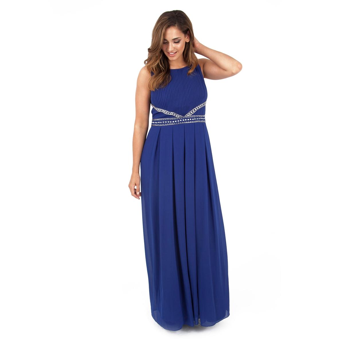 Платье длинноеПлатье длинное без рукавов - LOVEDROBE. Красивый украшенный стразами пояс, застежка на молнию сзади. Эффект плиссировки. 100% полиэстера.<br><br>Цвет: синий морской