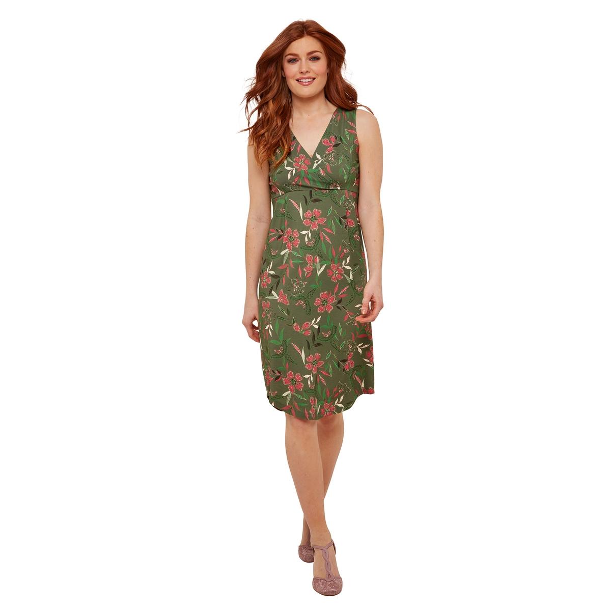 Платье La Redoute Без рукавов с цветочным принтом 36 (FR) - 42 (RUS) зеленый платье la redoute длинное без рукавов с застежкой на пуговицы спереди 42 fr 48 rus зеленый