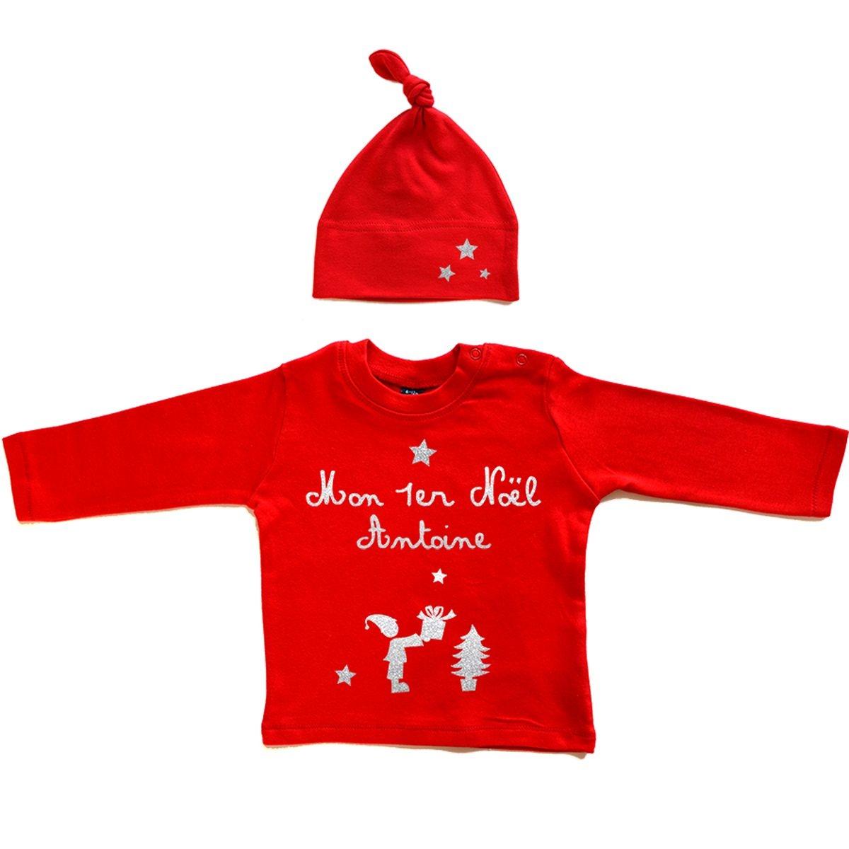 Kit T-shirt bébé Noël prénom coton manches longues rouge