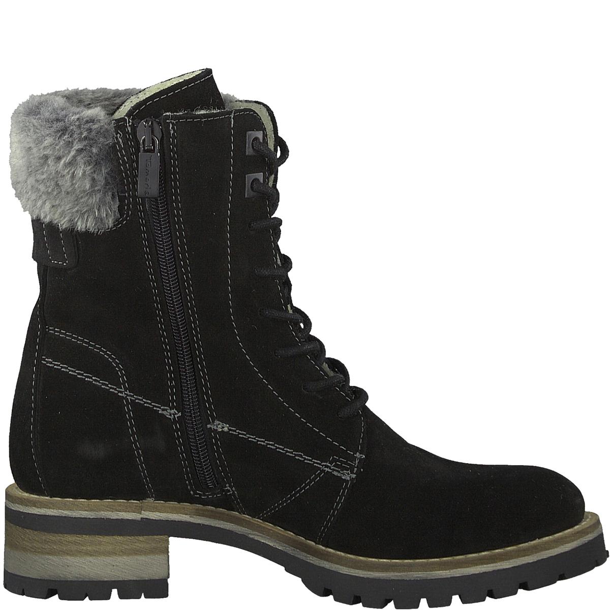 Ботинки TulyДетали •  Высота голенища : 17 см для размера 37 •  Высота каблука : 3,5 см •  Застежка : на молнию •  Круглый мысокСостав и уход •  Верх 50% кожи, 50% текстиля •  Подкладка 100% текстиль •  Стелька 100% текстиль<br><br>Цвет: черный<br>Размер: 40