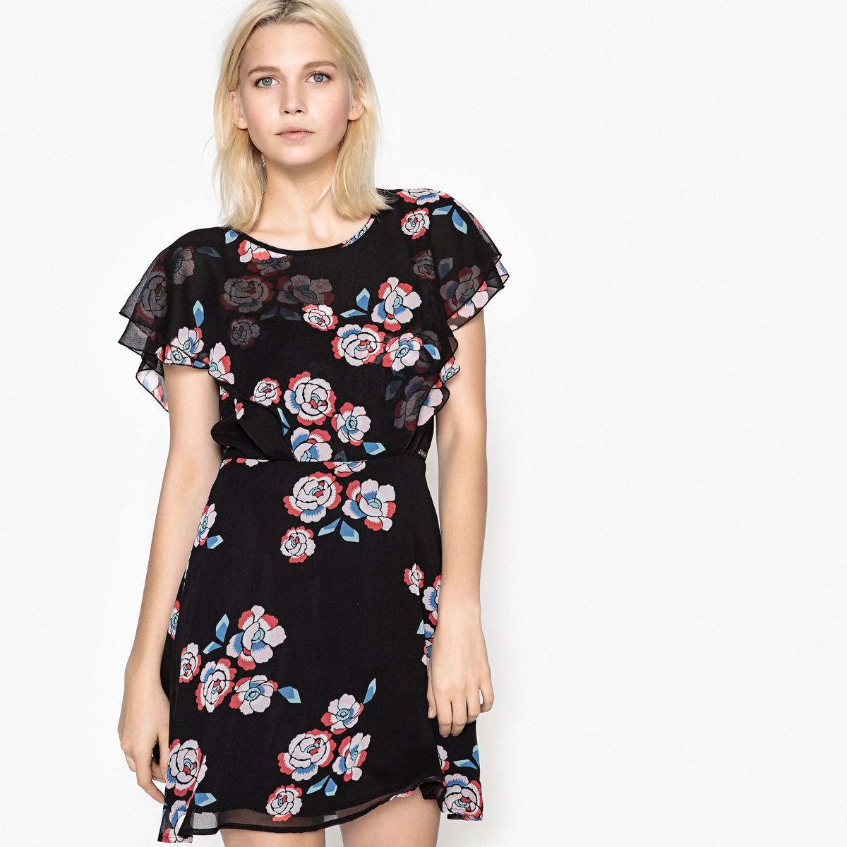 Платье-миди расклешенное с цветочным рисунком