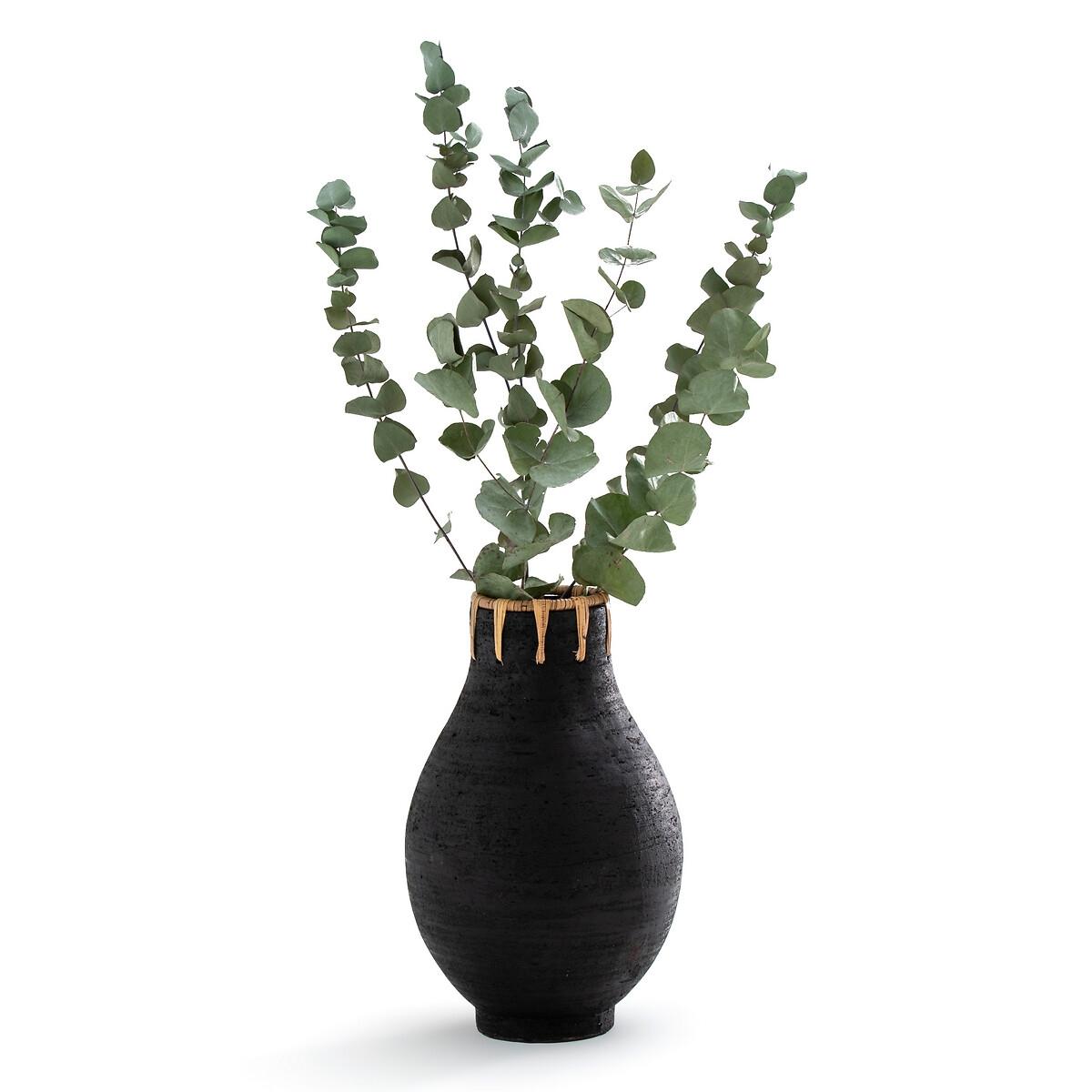 Ваза LaRedoute Декоративная из керамики и ротанга В32 см Kuro единый размер черный мебель из ротанга