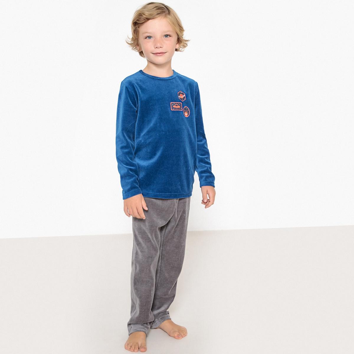 Пижама La Redoute Из велюра с длинными рукавами 3 года - 94 см синий пижама la redoute из велюра с принтом спереди мес 3 года 94 см розовый