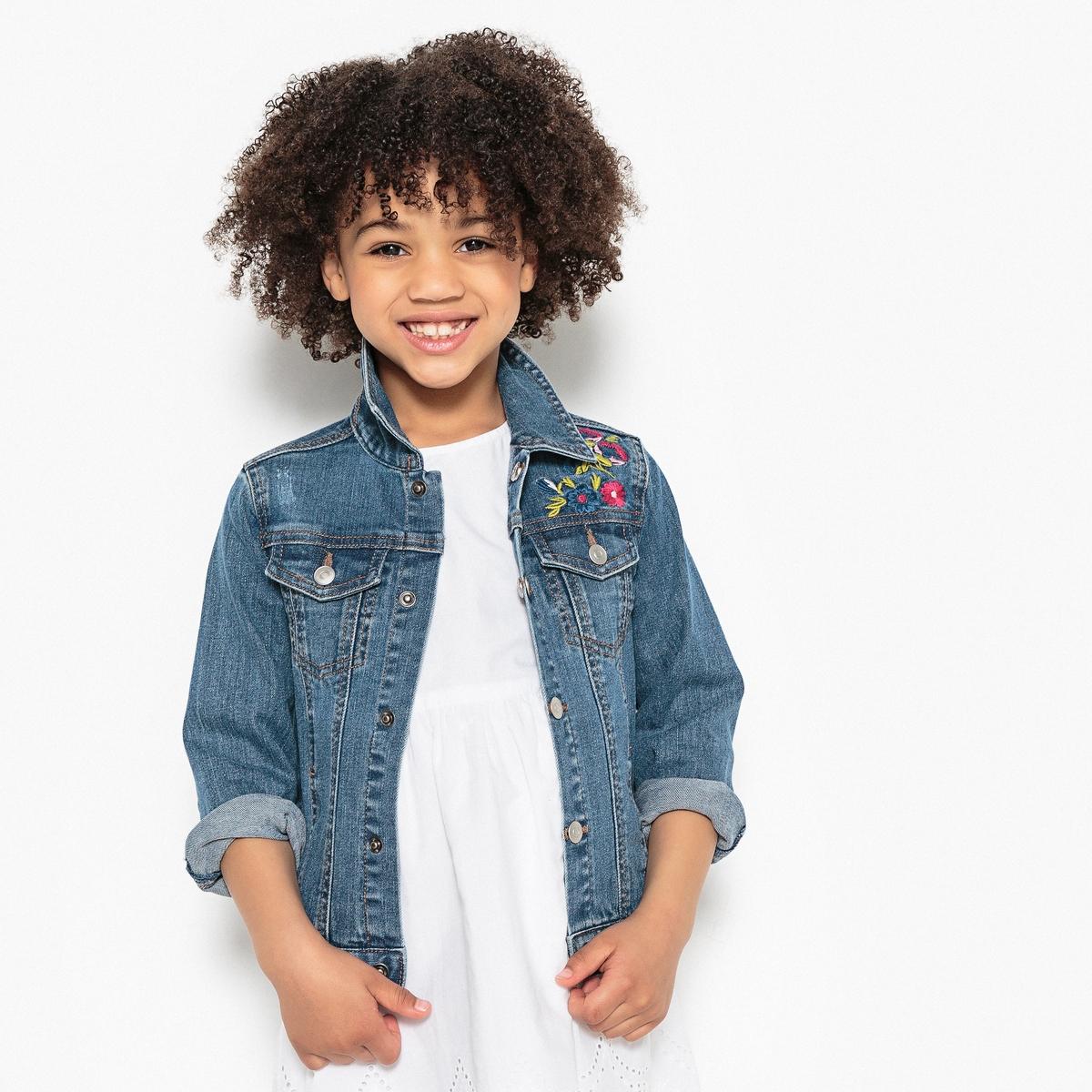 Куртка из денима с вышивкой 3-12 лет