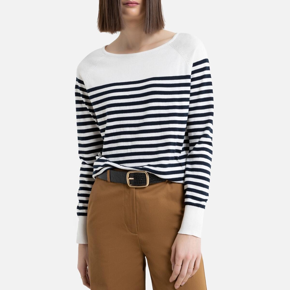 Jersey de estilo marinero con cuello barco, de punto fino