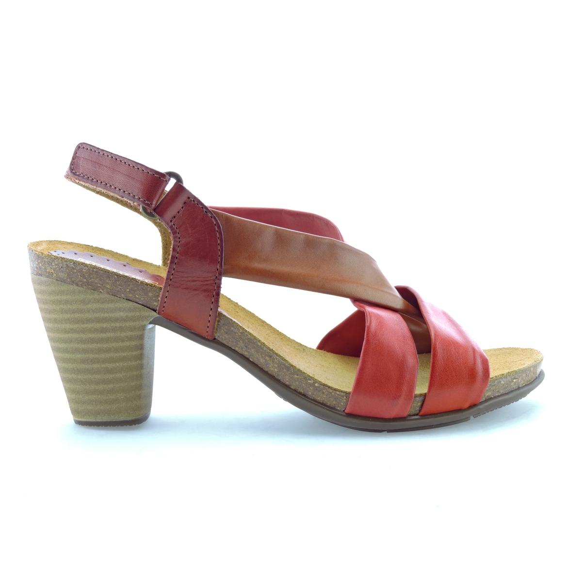 Босоножки кожаные LizВерх : кожа   Стелька : кожа   Подошва : эластомер   Высота каблука : 8 см   Форма каблука : квадратный каблук   Мысок : открытый мысок   Застежка : пряжка<br><br>Цвет: темно-бежевый<br>Размер: 38