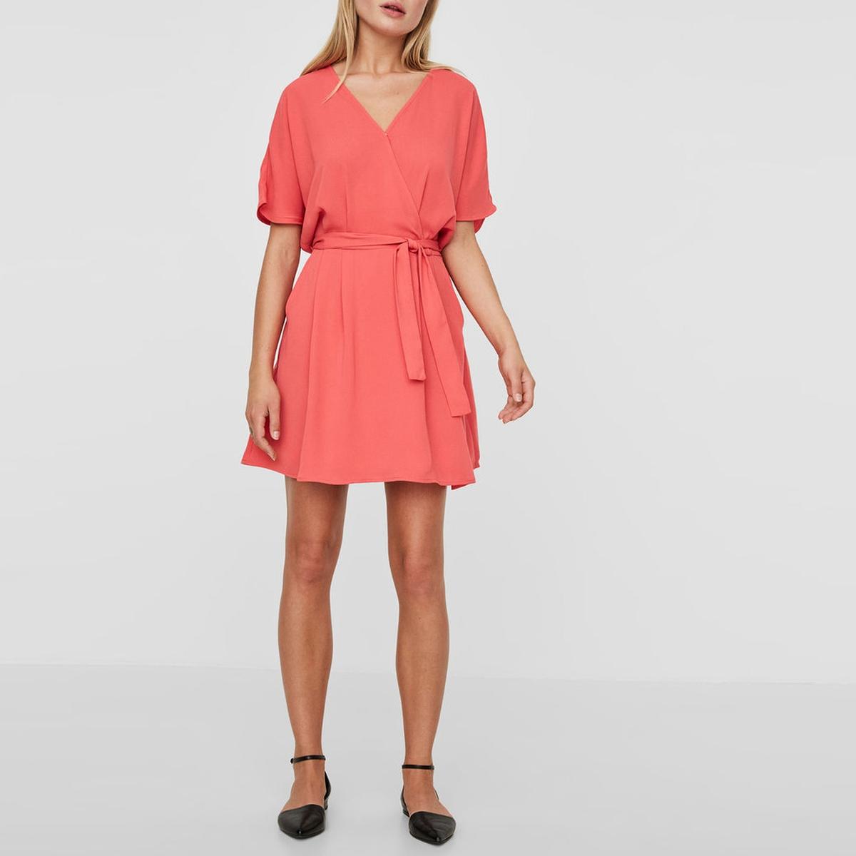Платье-кимоно с короткими рукавамиДетали •  Покрой: расклешенный •  Короткое •  Короткие рукава    •  Круглый вырезСостав и уход •  100% полиэстер •  Обратите внимание на рекомендации по уходу на ярлуке изделия<br><br>Цвет: коралловый,темно-синий,хаки<br>Размер: XS.S