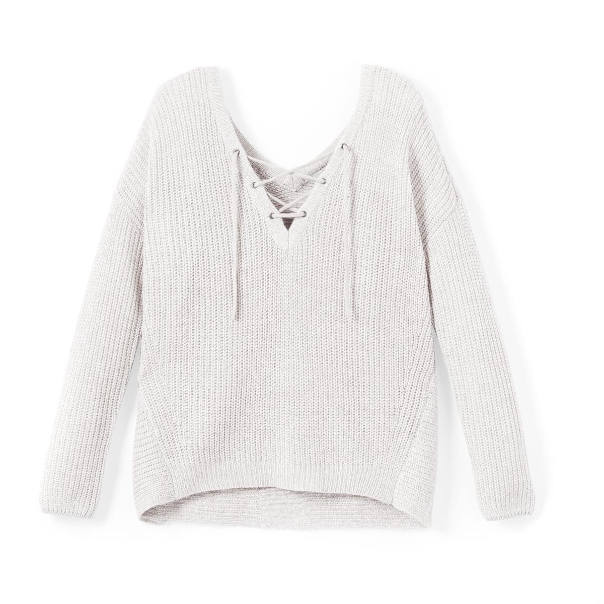 Пуловер с V-образным вырезом и шнуровкойДетали   Покрой пуловера : стандартный    Длинные рукава   •   V-образный вырез  Плотный трикотаж Состав и уход 28% хлопка, 36% полиэстера, 36% полиуретана   •  Просьба следовать советам по уходу, указанным на этикетке изделия<br><br>Цвет: белый<br>Размер: XS.L