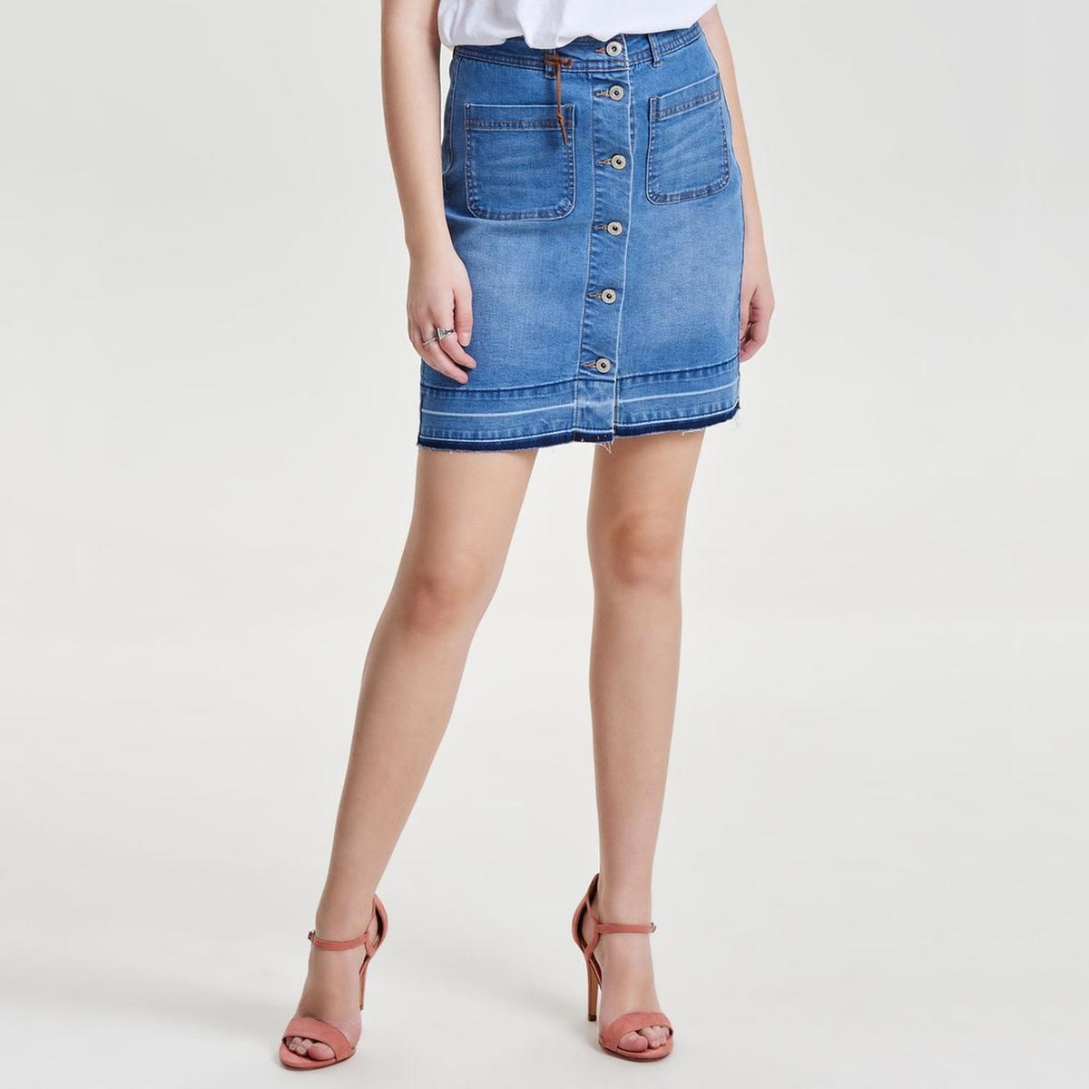 Юбка джинсовая на пуговицахОписание:      Материал : 3% вискозы, 72% хлопка, 2% эластана, 23% полиэстера     Рисунок : однотонная модель     Длина юбки : до колен<br><br>Цвет: синий потертый