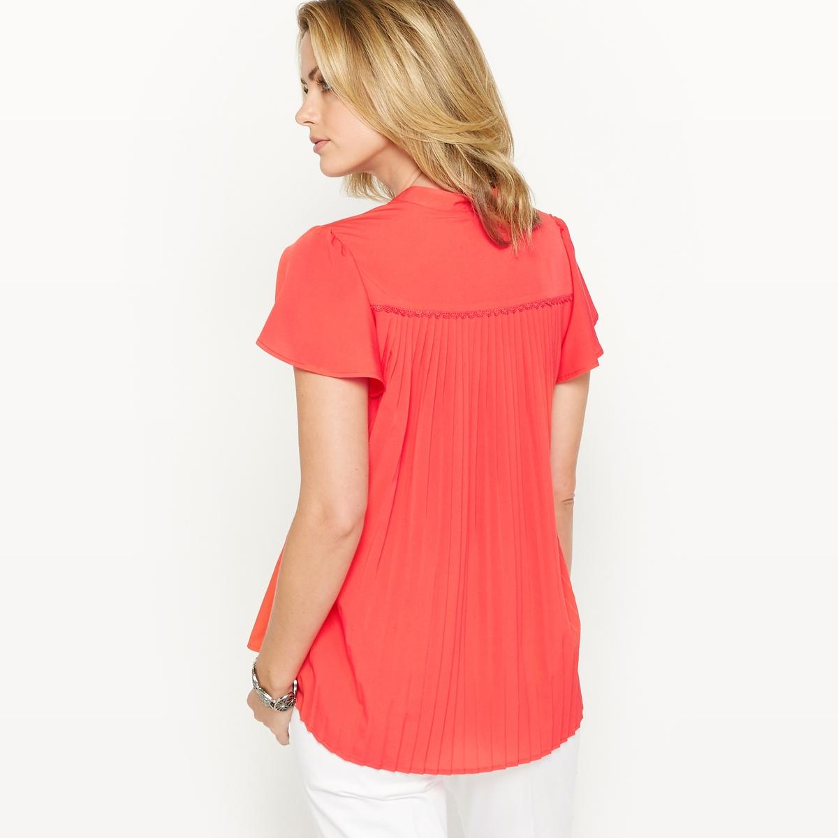 Блузка из крепа с плиссировкой на спине