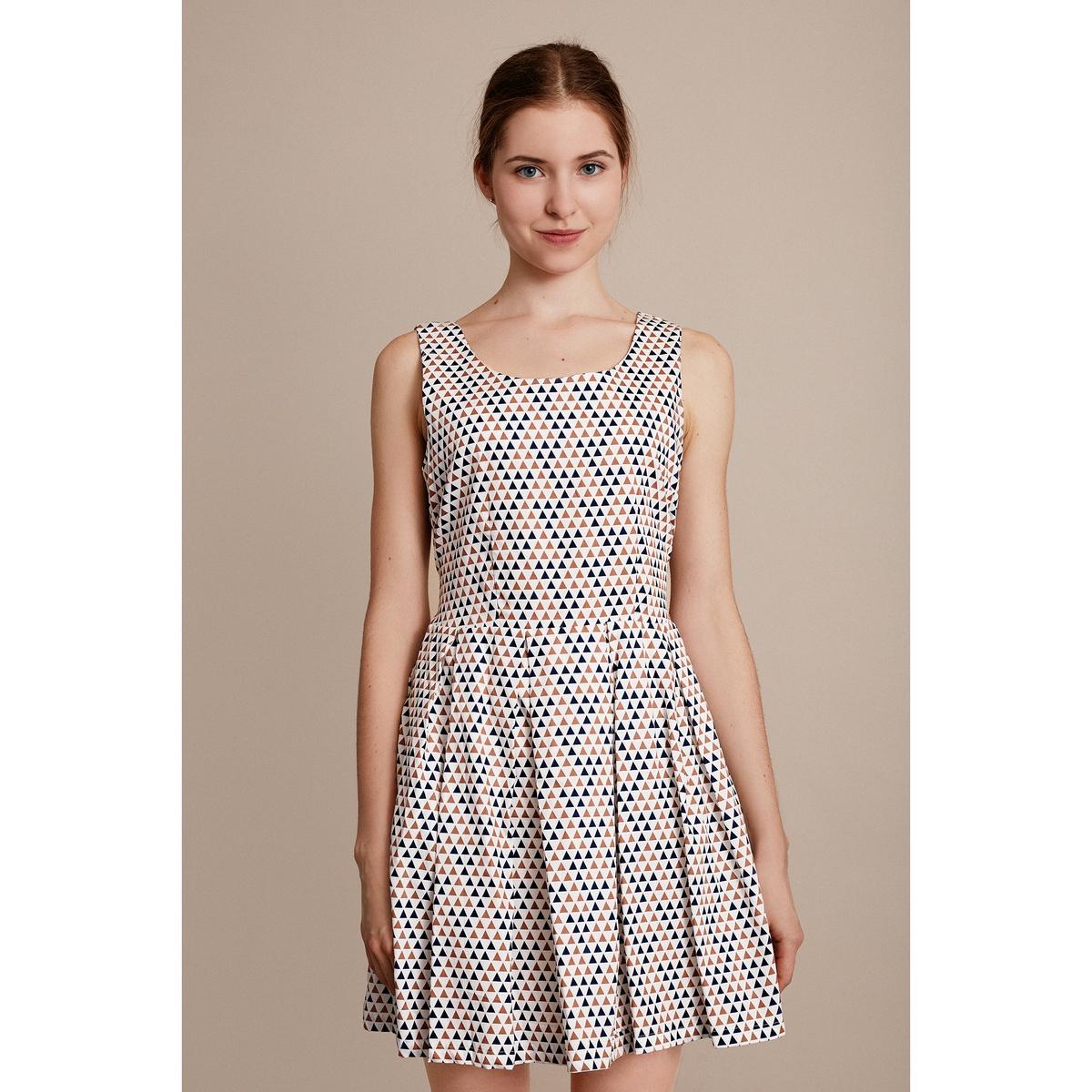 Платье без рукавовХарактеристики и описание    Материал         100% полиэстера        Марка    MIGLE+ME<br><br>Цвет: белый наб.рисунок
