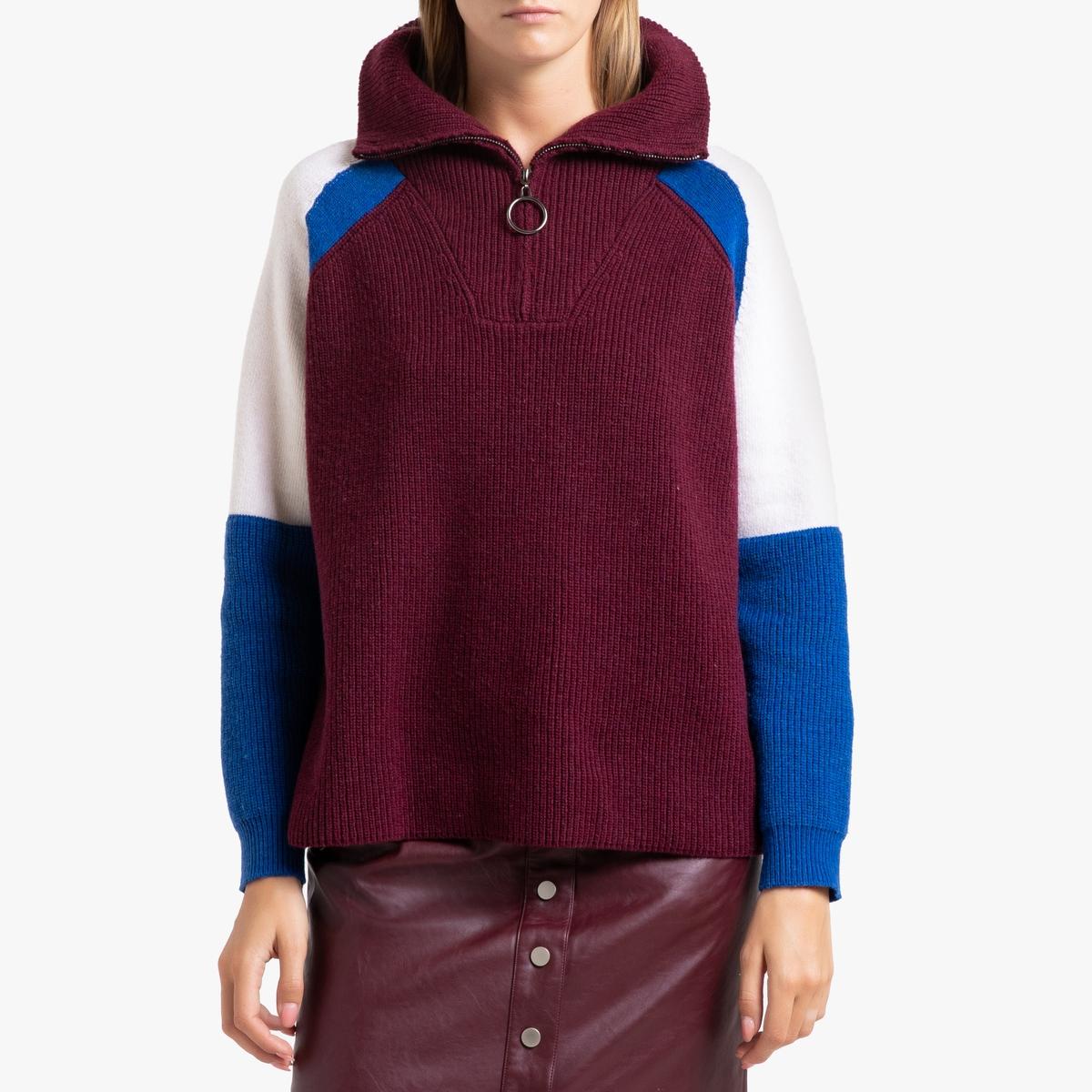 Пуловер La Redoute С воротником-стойка на молнии из трикотажа PHOENIX 2(M) красный цена