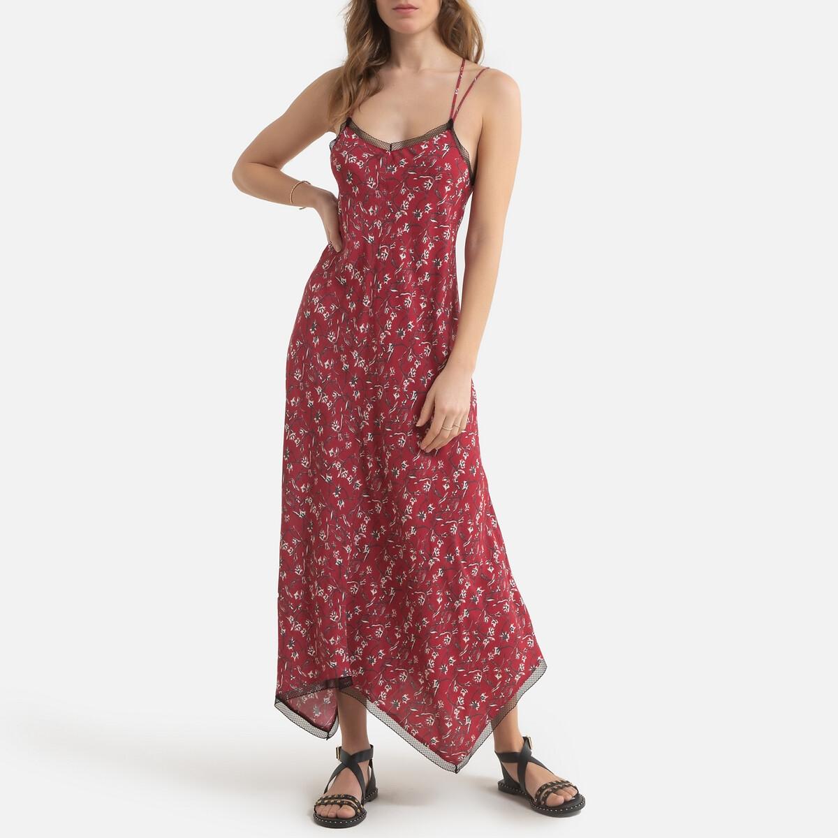 Платье LaRedoute Длинное с принтом на тонких бретелях 42 (FR) - 48 (RUS) розовый