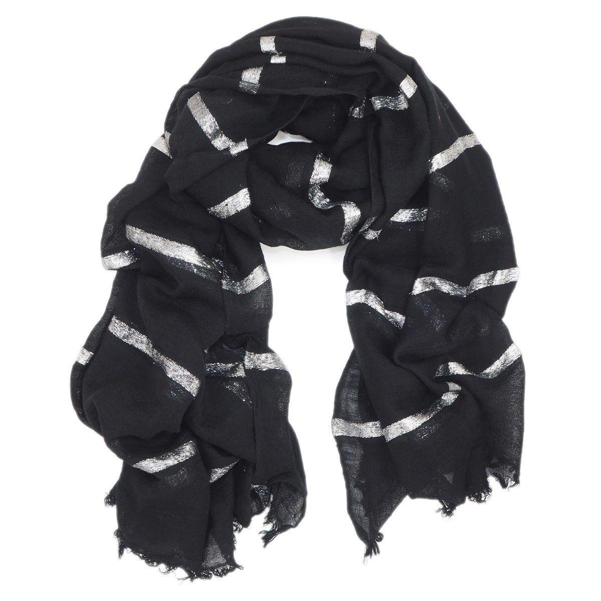 Etole en laine avec rayures en fils Fil textile