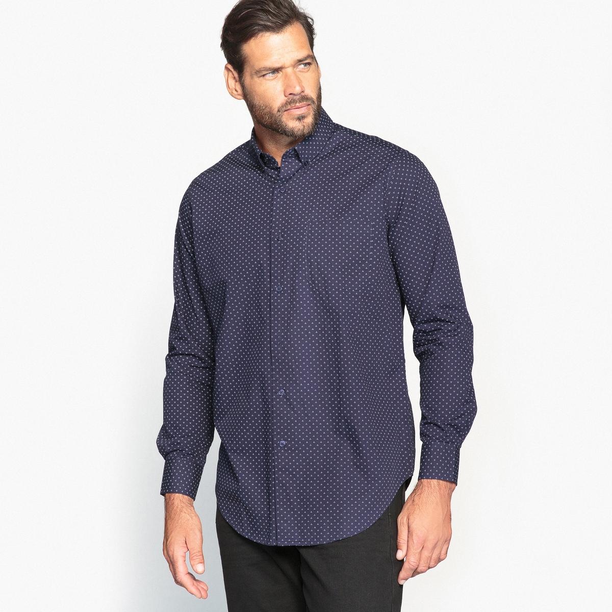 Рубашка с мелким узором и длинными рукавами