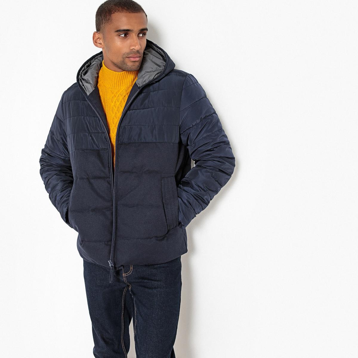 Куртка La Redoute Стеганая из двух материалов с капюшоном XXL синий куртка la redoute стеганая на молнии с капюшоном meter xxl синий