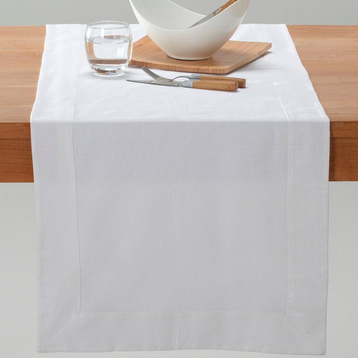 Столовая дорожкаШирина каймы 7 см. 50 х 150 см. Элегантная простота! Красивая отделка краев. Смесовая ткань, 55% льна, 45% хлопка. Стирка при 40°.<br><br>Цвет: белый,гранатовый,светло-серый,шафран