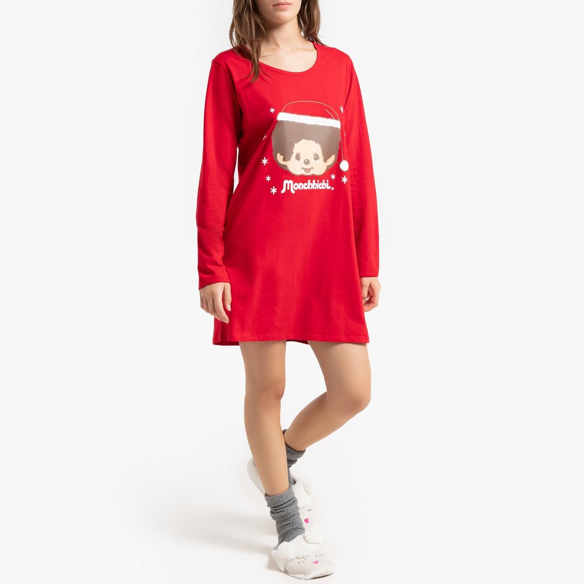 Рубашка La Redoute Ночная рождественская с длинными рукавами XL красный