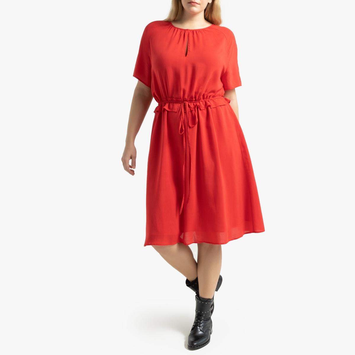 Платье La Redoute С завязками на кулиске на поясе и короткими рукавами 52 (FR) - 58 (RUS) красный