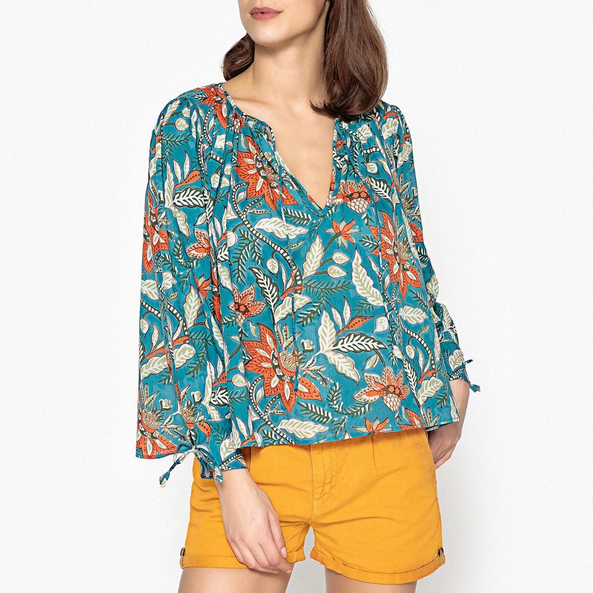 Блузка с рисунком и рукавами с напуском KALAO BLOUSE ruffle trim blouse