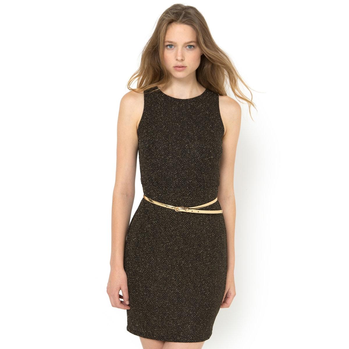 Платье, расшитое блестками, без рукавов с ремнемПлатье - MOLLY BRACKEN. С ремнем золотистого цвета.     Платье, расшитое блестками: 95% полиэстера, 5% эластана.<br><br>Цвет: черный<br>Размер: 2(M)