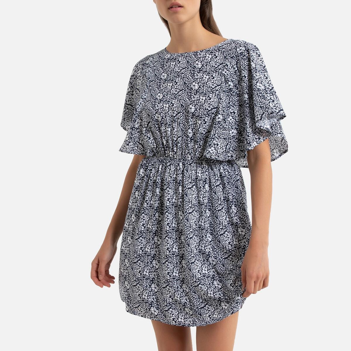 Платье LaRedoute С цветочным рисунком и эластичным поясом XS синий