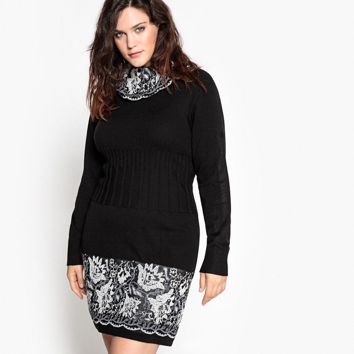 Платье-пуловер средней длины, однотонное, с длинными рукавамиОписание:Платье-пуловер снова в моде. Платье-пуловер с оригинальными воротником-хомутом и низом из жаккардового трикотажа. Незаменим в вашем гардеробе.Детали •  Форма : платье-пуловер •  Длина до колен •  Длинные рукава    •  Воротник с отворотомСостав и уход •  66% акрила, 6% хлопка, 2% металлизированных волокон, 26% полиэстера •  Температура стирки 30° на деликатном режиме   •  Сухая чистка и отбеливание запрещены    •  Не использовать барабанную сушку •  Низкая температура глажки Товар из коллекции больших размеров<br><br>Цвет: черный