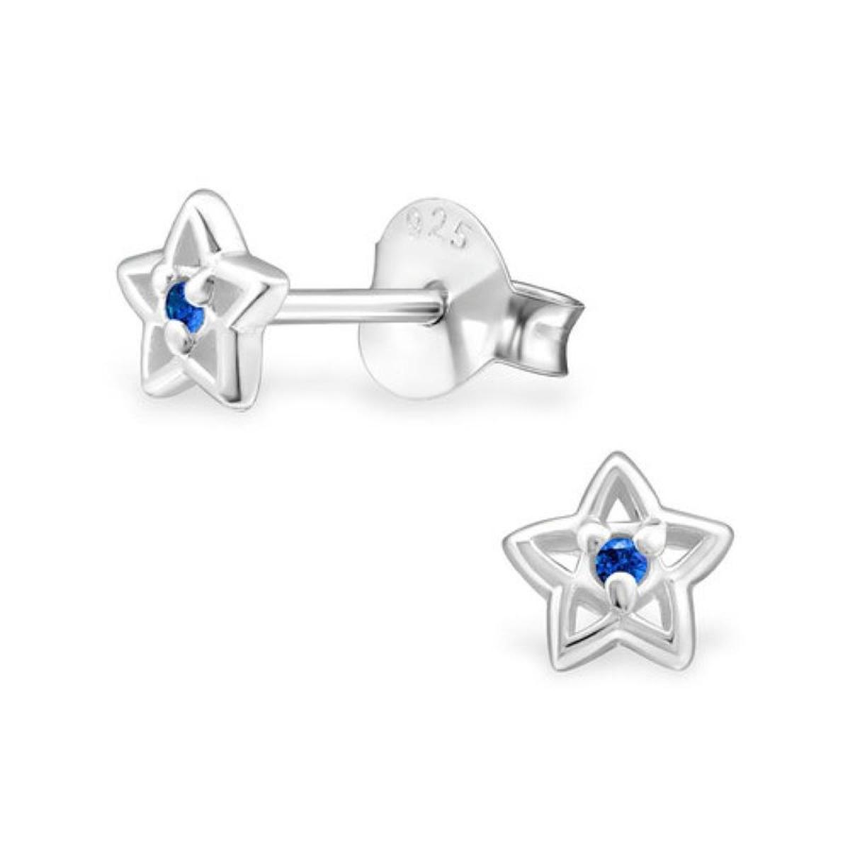 Boucles d'oreilles Etoile Voie Lactée Ciel Nuit Filante Strass Centre Bleu Argent 925