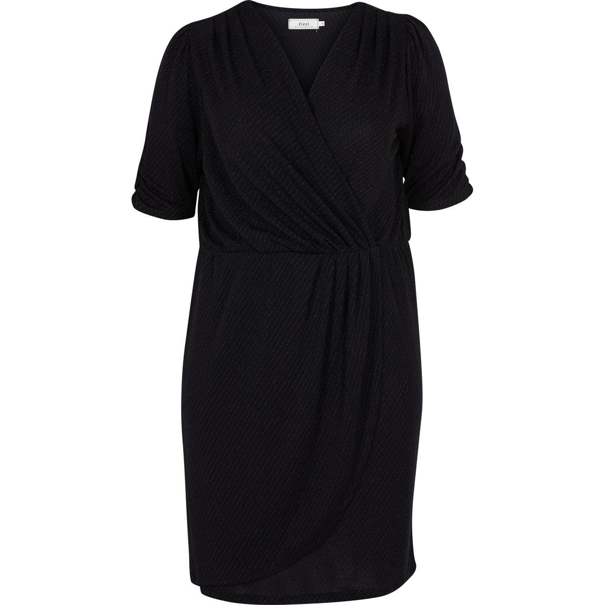 ПлатьеПлатье ZIZZI. Рукава по локоть . С эффектом запаха . V-образный вырез. Длина выше колен . 90% полиамида 10% люрекса . Соответствие размеров : S= 42/44, M= 46/48, L= 50/52, XL = 54/56<br><br>Цвет: черный