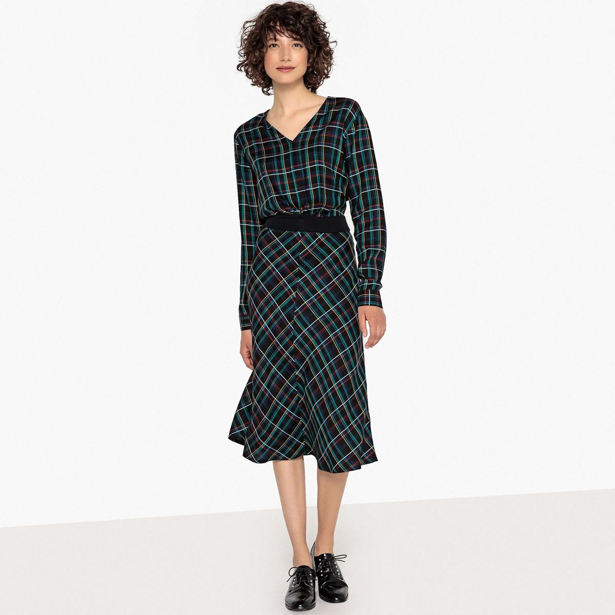 Платье-миди La Redoute В клетку с эластичным поясом 34 (FR) - 40 (RUS) синий платье рубашка la redoute джинсовое с поясом m синий