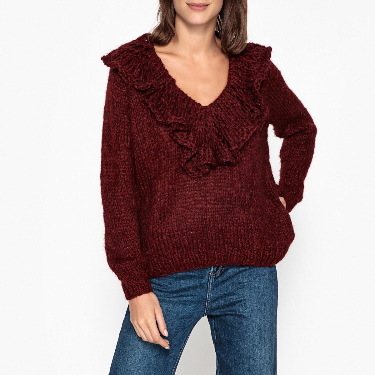 Пуловер с V-образным вырезом из трикотажа FRISCO пуловер из мохера